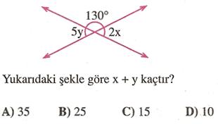 Yukarıdaki şekle göre x + y kaçtır ?