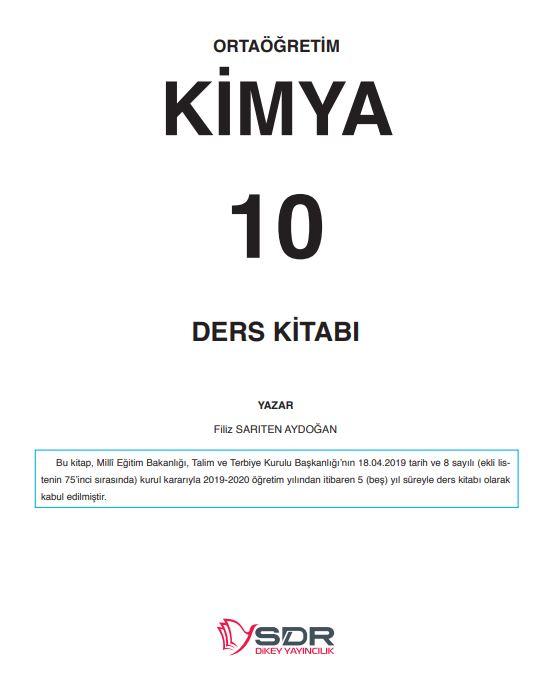 10. Sınıf Kimya Ders Kitabı Çözümleri ve Cevapları SDR Dikey Yayınları