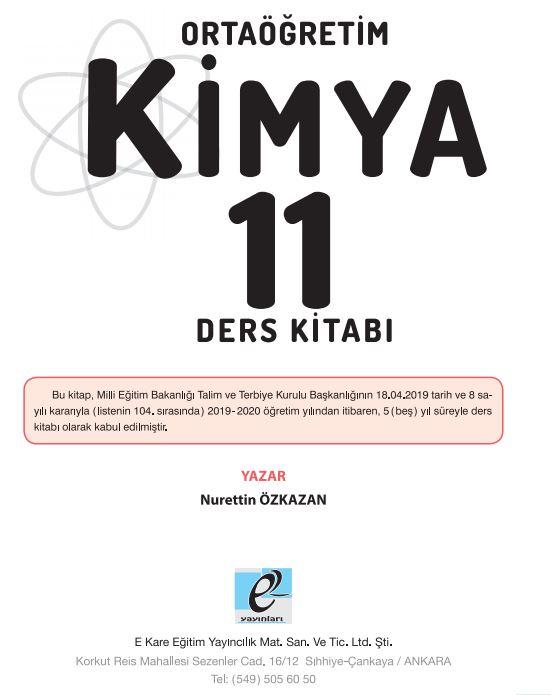 11. Sınıf Kimya Ders Kitabı Çözümleri ve Cevapları E Kare Yayınları