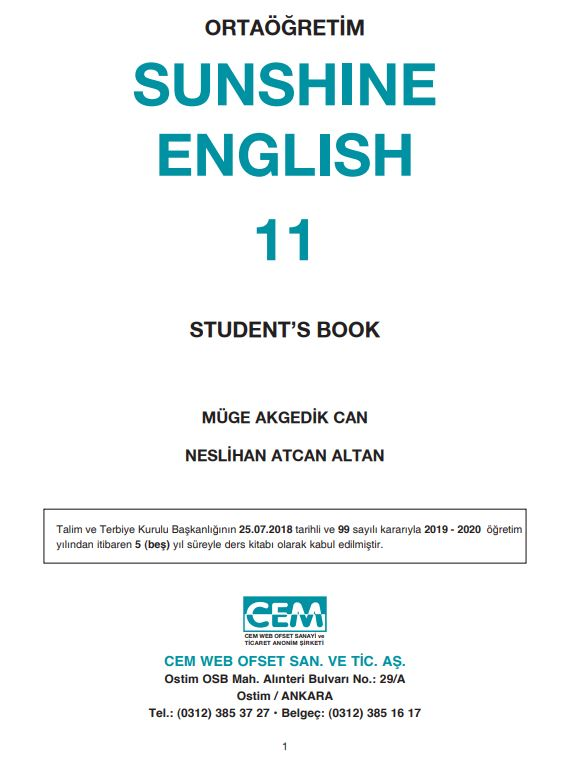 11. Sınıf İngilizce Ders Kitabı Çözümleri ve Cevapları Cem Yayınları