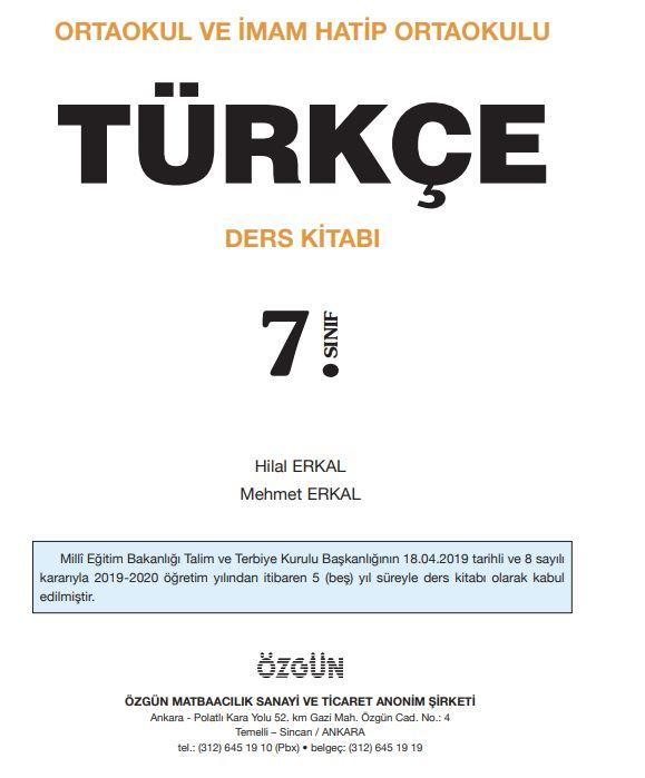 7. Sınıf Türkçe Ders Kitabı Çözümleri ve Cevapları Özgün Yayınları