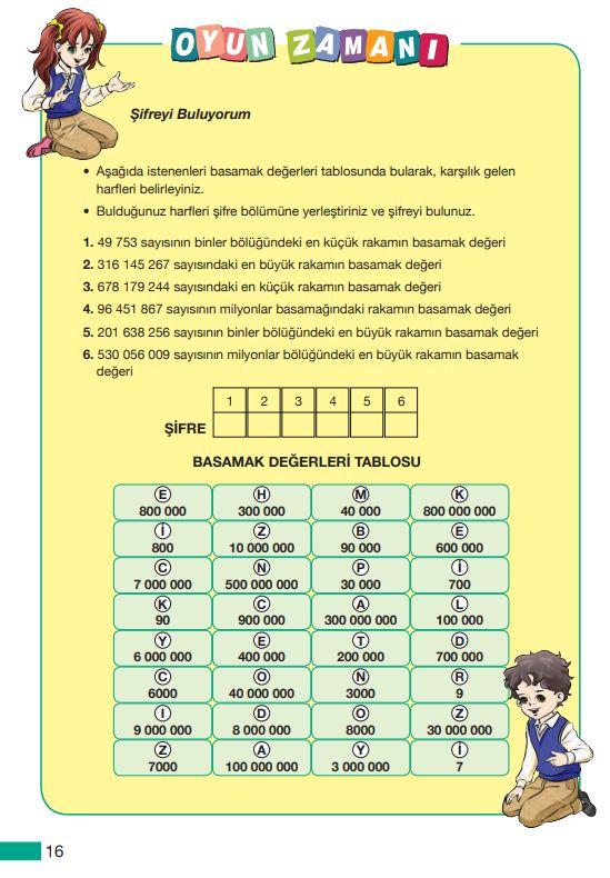 5. Sınıf Matematik Ders Kitabı Çözümleri ve Cevapları MEB Yayınları Sayfa 16