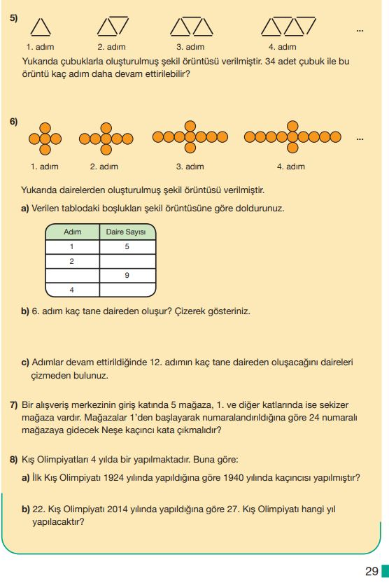 5. Sınıf Matematik Ders Kitabı Çözümleri ve Cevapları MEB Yayınları Sayfa 29