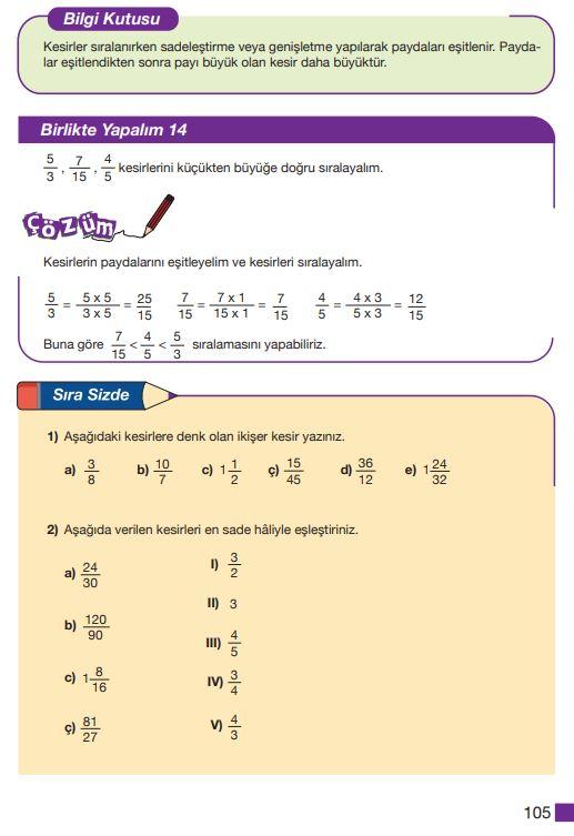 5. Sınıf Matematik Ders Kitabı Çözümleri ve Cevapları Sayfa 105 MEB Yayınları
