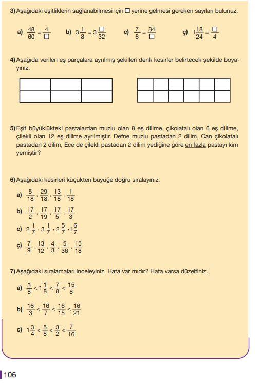 5. Sınıf Matematik Ders Kitabı Çözümleri ve Cevapları Sayfa 106 MEB Yayınları