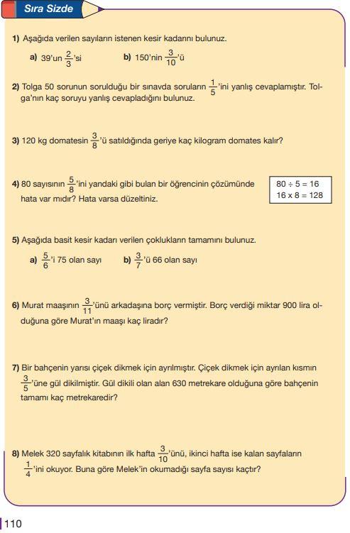 5. Sınıf Matematik Ders Kitabı Çözümleri ve Cevapları Sayfa 110 MEB Yayınları