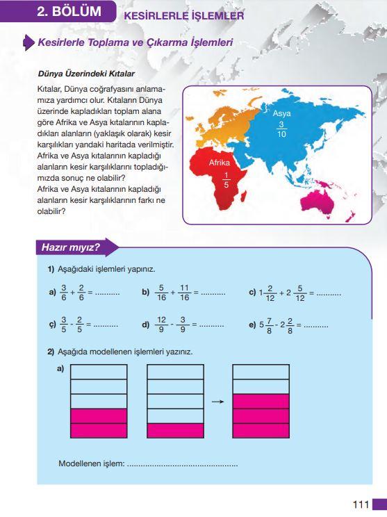 5. Sınıf Matematik Ders Kitabı Çözümleri ve Cevapları Sayfa 111 MEB Yayınları