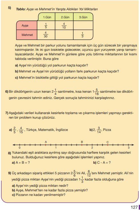 5. Sınıf Matematik Ders Kitabı Çözümleri ve Cevapları Sayfa 127 MEB Yayınları