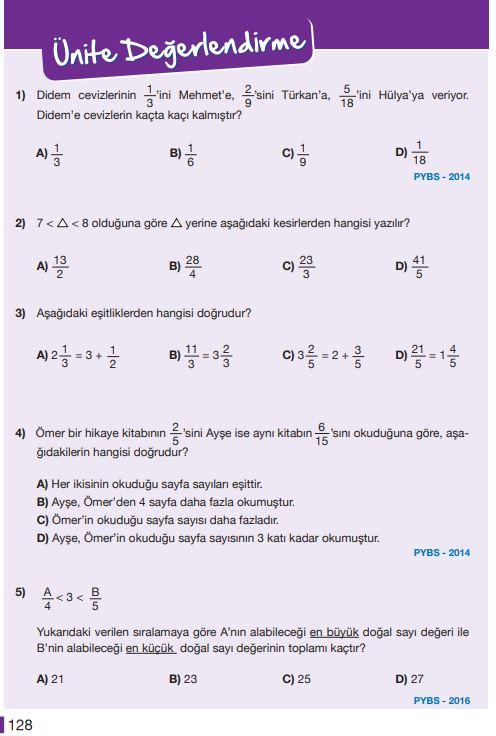 5. Sınıf Matematik Ders Kitabı Çözümleri ve Cevapları Sayfa 128 MEB Yayınları