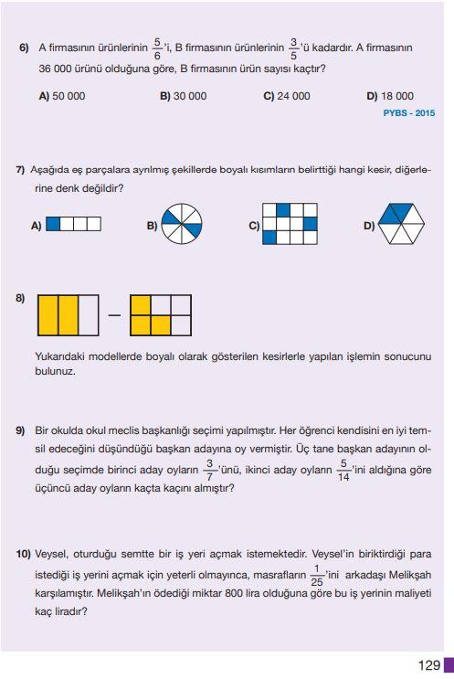 5. Sınıf Matematik Ders Kitabı Çözümleri ve Cevapları Sayfa 129 MEB Yayınları
