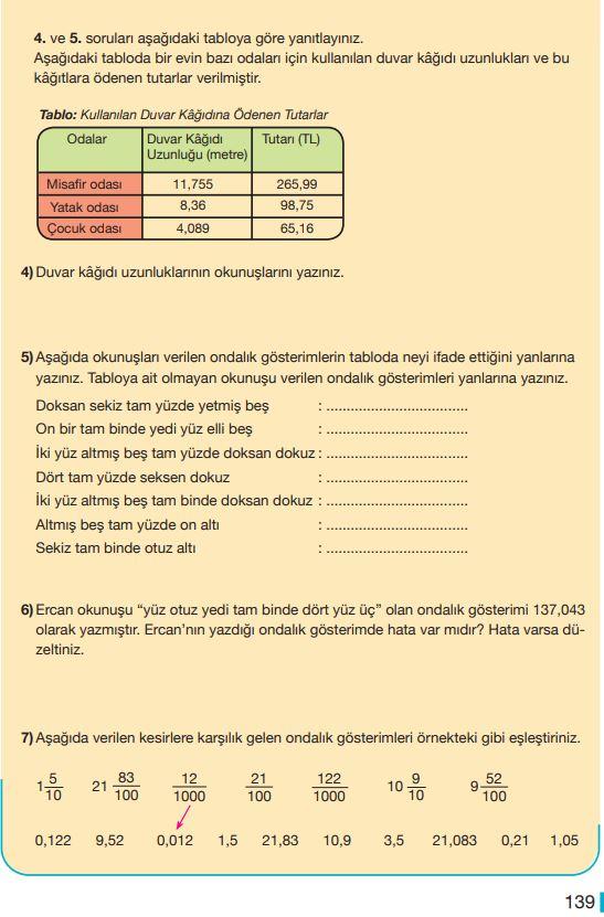 5. Sınıf Matematik Ders Kitabı Çözümleri ve Cevapları Sayfa 139 MEB Yayınları