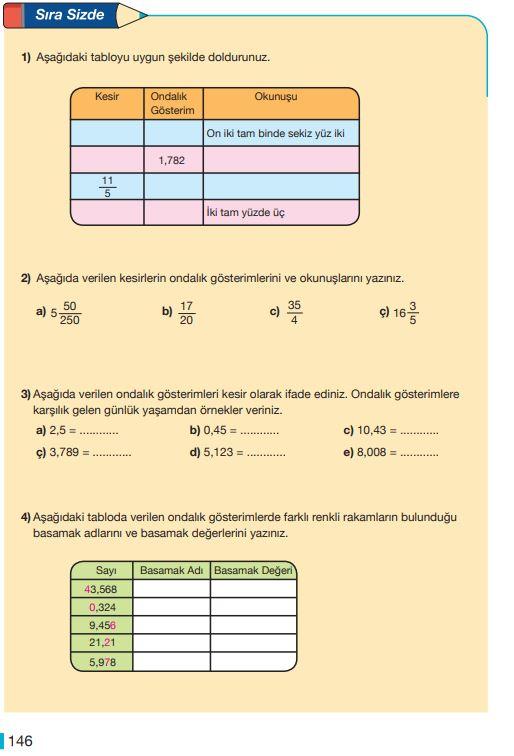 5. Sınıf Matematik Ders Kitabı Çözümleri ve Cevapları Sayfa 146 MEB Yayınları