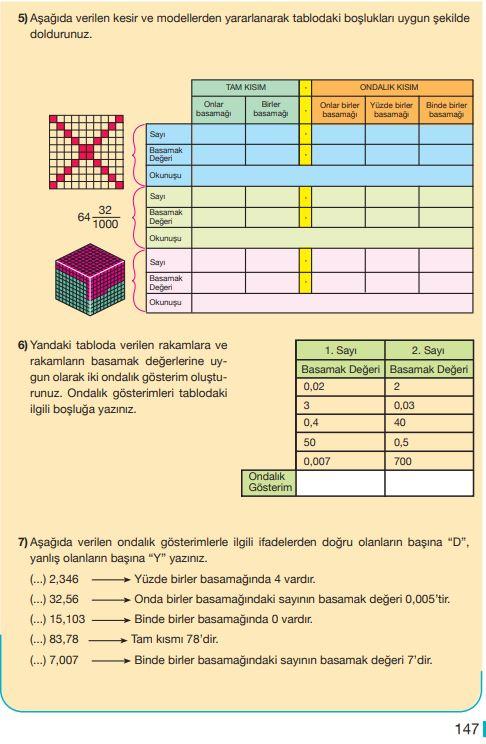 5. Sınıf Matematik Ders Kitabı Çözümleri ve Cevapları Sayfa 147 MEB Yayınları