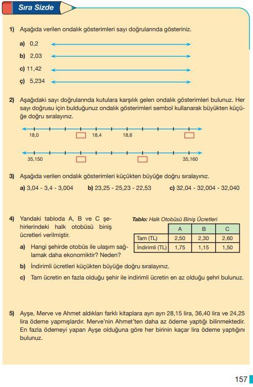 5. Sınıf Matematik Ders Kitabı Çözümleri ve Cevapları Sayfa 157 MEB Yayınları