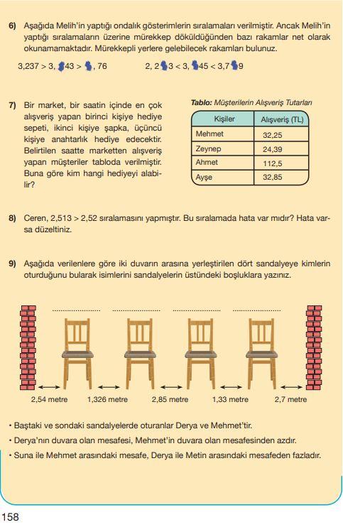 5. Sınıf Matematik Ders Kitabı Çözümleri ve Cevapları Sayfa 158 MEB Yayınları