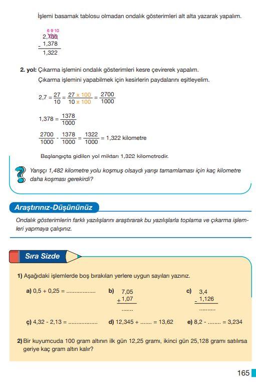 5. Sınıf Matematik Ders Kitabı Çözümleri ve Cevapları Sayfa 165 MEB Yayınları