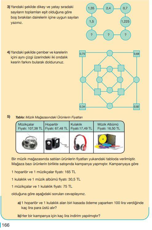 5. Sınıf Matematik Ders Kitabı Çözümleri ve Cevapları Sayfa 166 MEB Yayınları