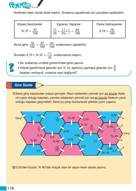 5. Sınıf Matematik Ders Kitabı Çözümleri ve Cevapları Sayfa 178 MEB Yayınları