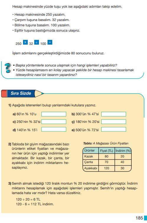 5. Sınıf Matematik Ders Kitabı Çözümleri ve Cevapları Sayfa 185 MEB Yayınları