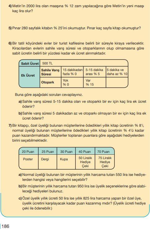 5. Sınıf Matematik Ders Kitabı Çözümleri ve Cevapları Sayfa 186 MEB Yayınları