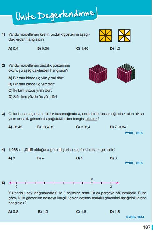 5. Sınıf Matematik Ders Kitabı Çözümleri ve Cevapları Sayfa 187 MEB Yayınları