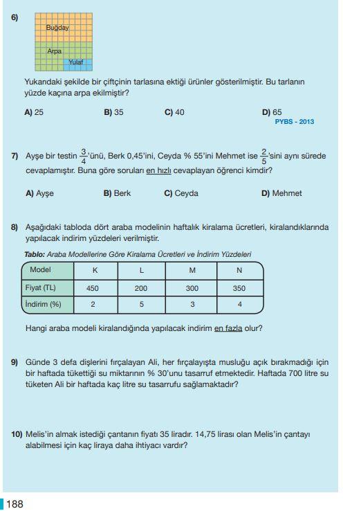 5. Sınıf Matematik Ders Kitabı Çözümleri ve Cevapları Sayfa 188 MEB Yayınları