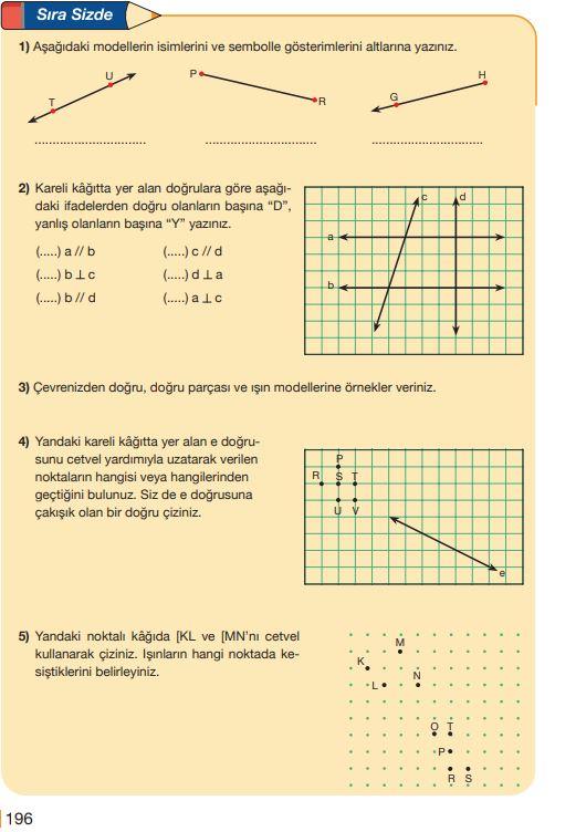 5. Sınıf Matematik Ders Kitabı Çözümleri ve Cevapları Sayfa 196 MEB Yayınları