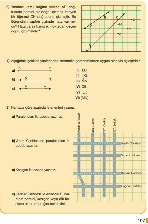 5. Sınıf Matematik Ders Kitabı Çözümleri ve Cevapları Sayfa 197 MEB Yayınları
