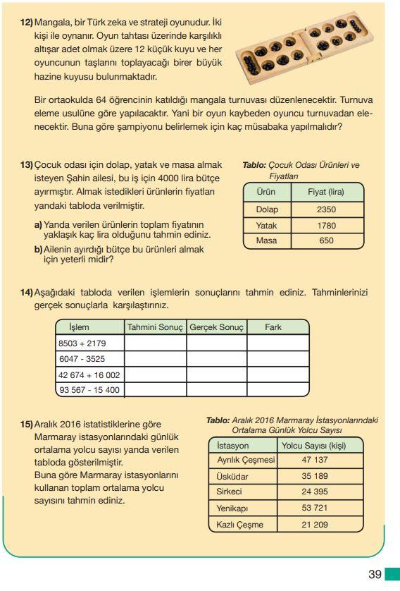 5. Sınıf Matematik Ders Kitabı Çözümleri ve Cevapları Sayfa 39 MEB Yayınları