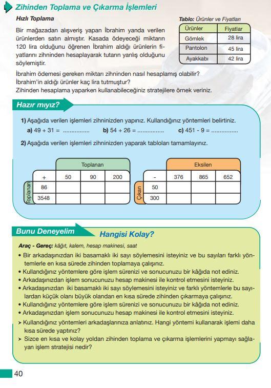 5. Sınıf Matematik Ders Kitabı Çözümleri ve Cevapları Sayfa 40 MEB Yayınları