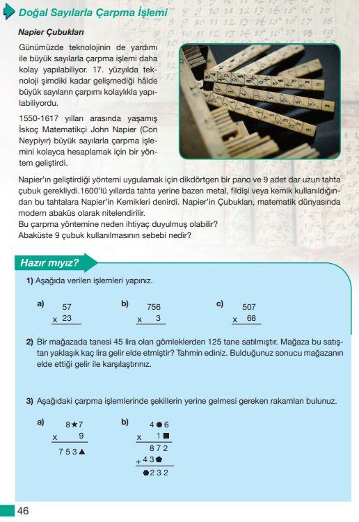 5. Sınıf Matematik Ders Kitabı Çözümleri ve Cevapları Sayfa 46 MEB Yayınları