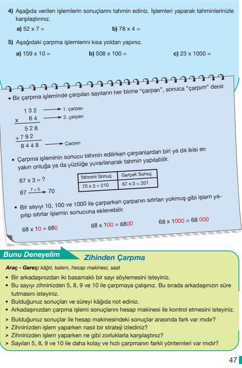 5. Sınıf Matematik Ders Kitabı Çözümleri ve Cevapları Sayfa 47 MEB Yayınları