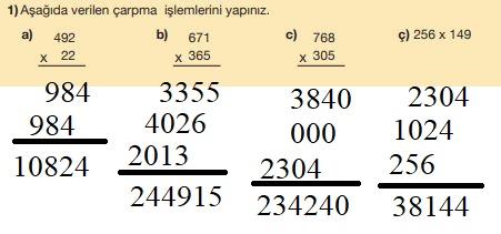 5. Sınıf Matematik Ders Kitabı Çözümleri ve Cevapları Sayfa 56-1 MEB Yayınları