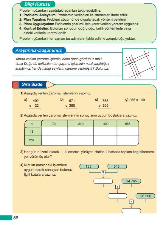 5. Sınıf Matematik Ders Kitabı Çözümleri ve Cevapları Sayfa 56 MEB Yayınları
