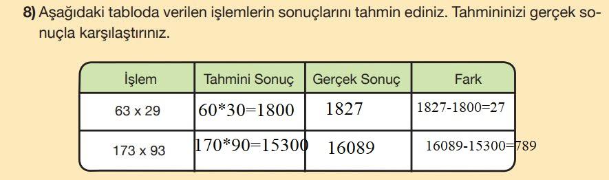 5. Sınıf Matematik Ders Kitabı Çözümleri ve Cevapları Sayfa 57-8 MEB Yayınları