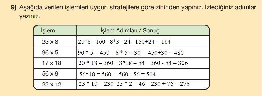 5. Sınıf Matematik Ders Kitabı Çözümleri ve Cevapları Sayfa 57-9 MEB Yayınları
