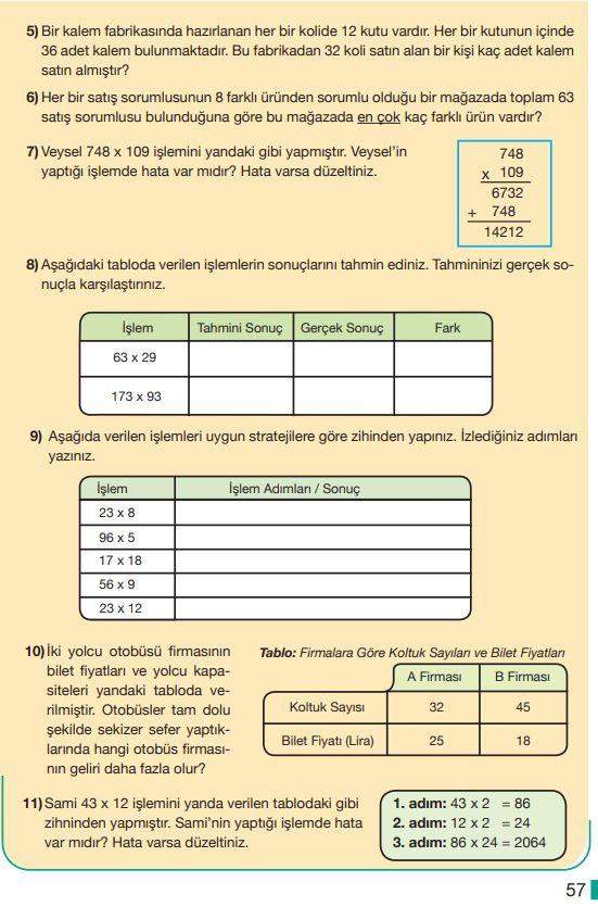 5. Sınıf Matematik Ders Kitabı Çözümleri ve Cevapları Sayfa 57 MEB Yayınları