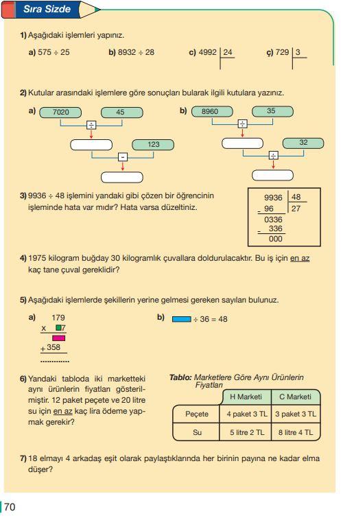 5. Sınıf Matematik Ders Kitabı Çözümleri ve Cevapları Sayfa 70 MEB Yayınları
