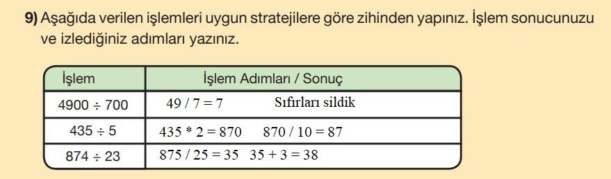 5. Sınıf Matematik Ders Kitabı Çözümleri ve Cevapları Sayfa 71-9 MEB Yayınları