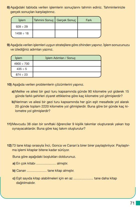 5. Sınıf Matematik Ders Kitabı Çözümleri ve Cevapları Sayfa 71 MEB Yayınları