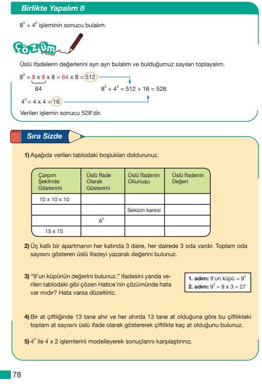 5. Sınıf Matematik Ders Kitabı Çözümleri ve Cevapları Sayfa 78 MEB Yayınları