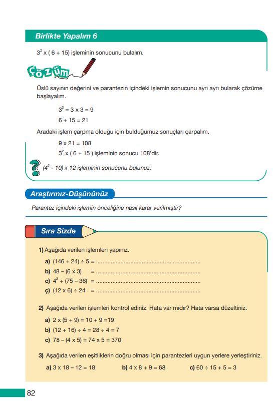 5. Sınıf Matematik Ders Kitabı Çözümleri ve Cevapları Sayfa 82 MEB Yayınları