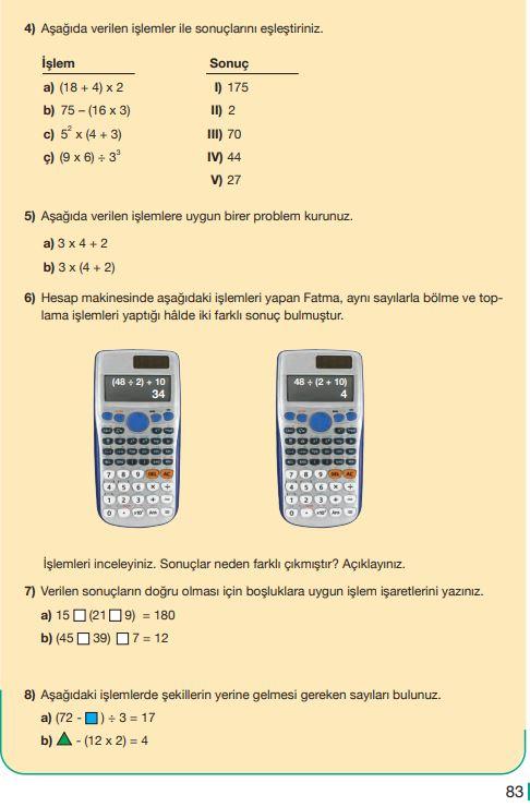 5. Sınıf Matematik Ders Kitabı Çözümleri ve Cevapları Sayfa 83 MEB Yayınları
