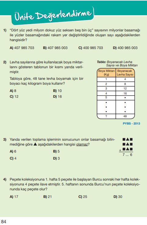 5. Sınıf Matematik Ders Kitabı Çözümleri ve Cevapları Sayfa 84 MEB Yayınları