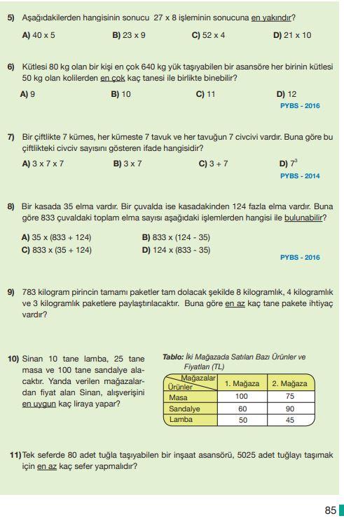 5. Sınıf Matematik Ders Kitabı Çözümleri ve Cevapları Sayfa 85 MEB Yayınları