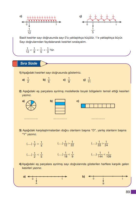 5. Sınıf Matematik Ders Kitabı Çözümleri ve Cevapları Sayfa 89 MEB Yayınları