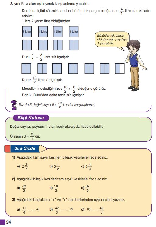 5. Sınıf Matematik Ders Kitabı Çözümleri ve Cevapları Sayfa 94 MEB Yayınları