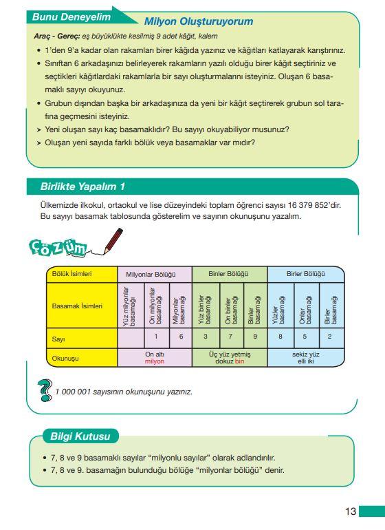 5. Sınıf Matematik Ders Kitabı Çözümleri ve Cevapları MEB Yayınları Sayfa 13